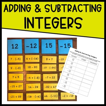 Adding & Subtracting Integers Matching Activity