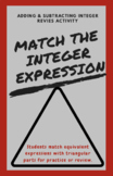 Adding & Subtracting Integers Matching Activity Review or Practice
