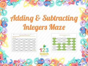 Adding & Subtracting Integers Maze (Worksheet Activity)