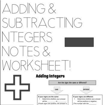 Adding & Subtracting Integers Notes and Practice Worksheet