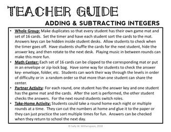 Adding & Subtracting Integers Number Sort, Matching Game 7.NS.A.1