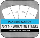 Adding & Subtracting Integers Playing Cards (Games)
