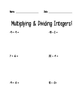 Integers Operations worksheets