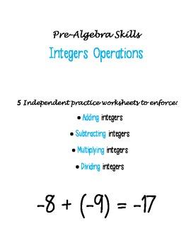 Integers Operations worksheets
