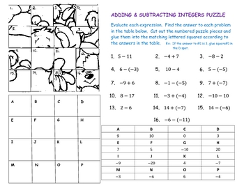 adding subtracting integers puzzle by laura becker tpt. Black Bedroom Furniture Sets. Home Design Ideas
