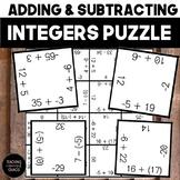 Adding & Subtracting Integers Puzzle TEKS 6.3D