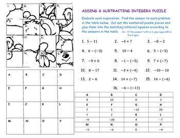 Addition » Addition Integers Worksheets - Free Math Worksheets for ...