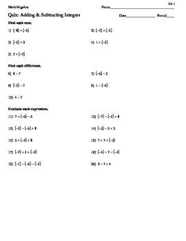 Adding & Subtracting Integers Quiz