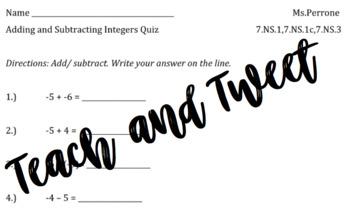 Adding Subtracting Integers Quiz