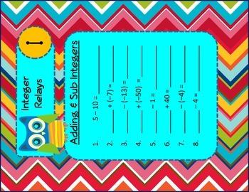 Adding & Subtracting Integers Relay