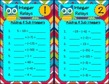 Adding & Subtracting Integers Relay