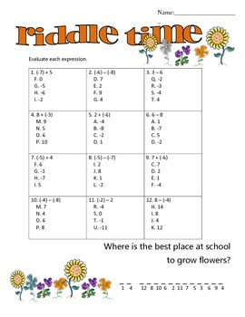 Adding \u0026 Subtracting Integers Riddle Time By Math Maniacs Tpt Money Worksheet Adding And Subtracting Adding \u0026 Subtracting Integers Riddle Time
