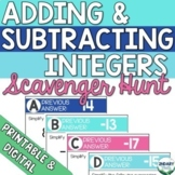 Adding & Subtracting Integers Scavenger Hunt (Digital + Pr