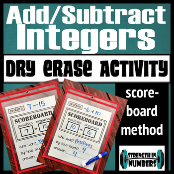 Adding & Subtracting Integers Scoreboard Method Dry Erase Practice