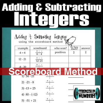 Adding & Subtracting Integers Scoreboard Method Notes and Practice