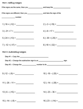 Adding & Subtracting Integers Test Review