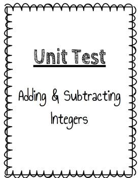 Adding & Subtracting Integers Unit Test