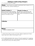 Adding & Subtracting Integers Word Problems Note-sheet and
