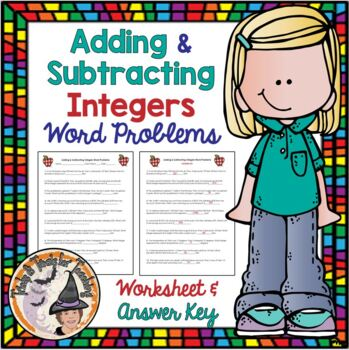 Adding and Subtracting Integers Word Problems Practice with ANSWER KEY