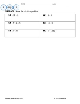 Adding & Subtracting Integers Worksheet