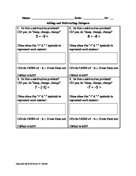 Adding & Subtracting Integers Worksheet with Keep, Change,