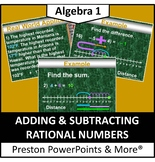 Adding & Subtracting Integers on a Number Line w/ Properties in a PowerPoint