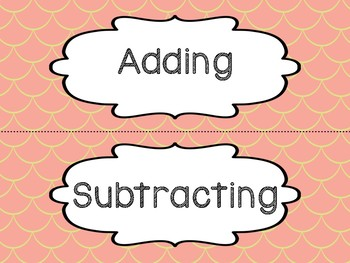 Adding & Subtracting Key Word Sorting Activity - Task Cards (Mermaid Style)