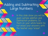 Adding & Subtracting Large Numbers Activity