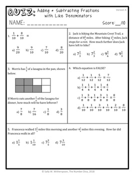 Adding & Subtracting Like Fractions Quiz, 4th Grade 4.NF.3 Assessment
