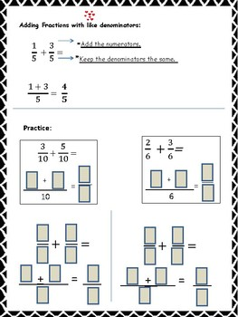 Adding and Subtracting Like and Unlike Fractions Work Mats