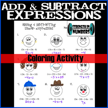 Adding & Subtracting Linear Expressions Coloring Activity