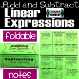 Adding Subtracting Linear Expressions Foldable Notes Interactive Notebook