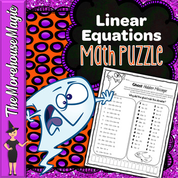 Linear Expressions Halloween Math Puzzle