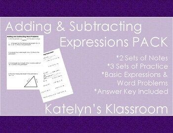 Adding & Subtracting Mathematical Expressions MEGA NOTES PACK