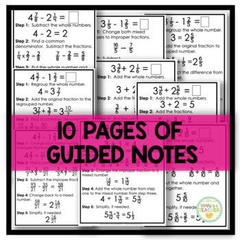 Add/Subtract Mixed Numbers Guide - Same/Different Denominators, with Regrouping