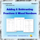 Adding & Subtracting Mixed Numbers & Fractions - 3 worksheets - Grade 5 - CCSS