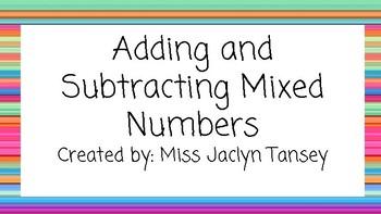 Adding & Subtracting Mixed Numbers (Like Denominators)