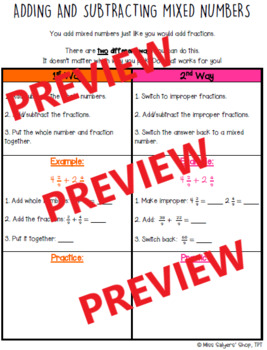 Adding & Subtracting Mixed Numbers Notes