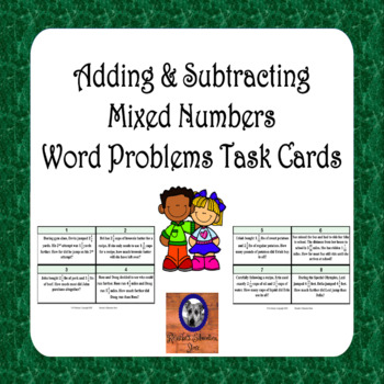 Adding & Subtracting Mixed Numbers Word Problem Task Cards