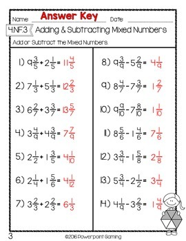 Adding & Subtracting Mixed Numbers Test Worksheet by Teacher Gameroom