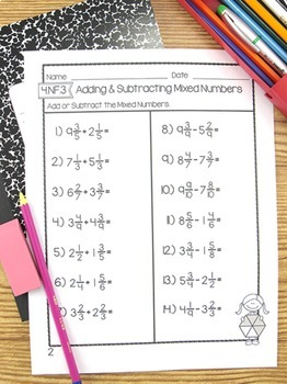 Adding & Subtracting Mixed Numbers Test Worksheet