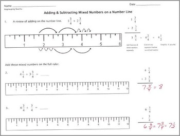 Adding & Subtracting Mixed Numbers on a Ruler