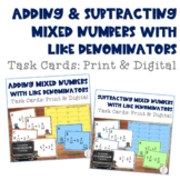 Adding & Subtracting Mixed Numbers with Like Denominators Task Cards Bundle