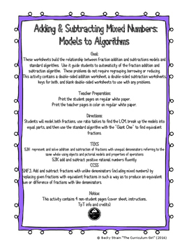 Adding & Subtracting Mixed Numbers: Models to Algorithms (5.3K, 5.3K, 5.NF.1)