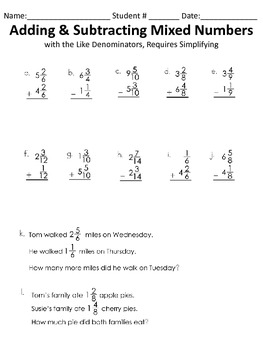 Adding & Subtracting Mixed Worksheet