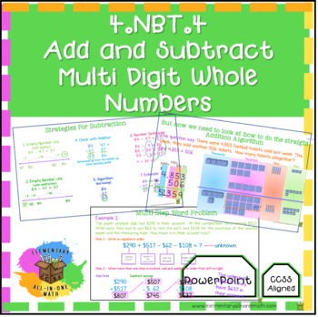 Adding & Subtracting Multi Digit Whole Numbers - PowerPoint 4th Grade (4.NBT.4)