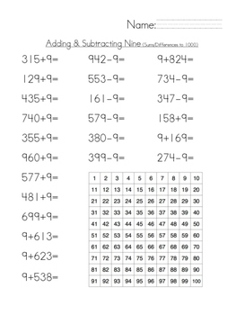Adding & Subtracting Multiples Of Nine Mental Math