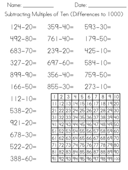 Adding & Subtracting Multiples Of Ten (Friendly Numbers) Mental Math