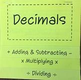 Adding, Subtracting, Multiply, Dividing Decimals FlipBook