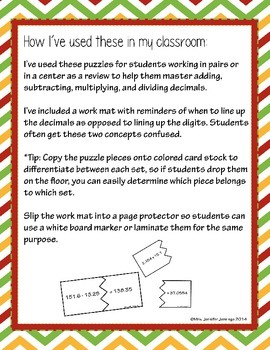 Adding, Subtracting, Multiplying, Dividing Decimal Puzzles
